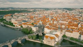 Cityscape of Prague. The capital of Czheh Republic, Aerial view stock video footage