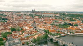 Cityscape of Prague. The capital of Czheh Republic, Aerial view stock footage