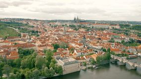 Cityscape of Prague. The capital of Czheh Republic, Aerial view stock video