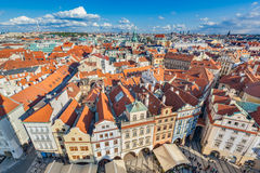 Cityscape of Prague, Czech Republic. Traditional red roof tenement houses. Stock Photo