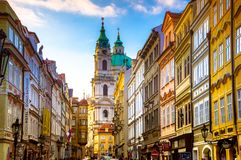 Cityscape of Prague with medieval towers and colorful buildings. stock photos