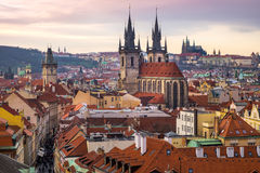 Cityscape of Prague old town with beautiful towers and castle Royalty Free Stock Image