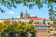 Cityscape of Prague with Saint Vitus Cathedral, Czech Republic Stock Images