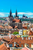 Cityscape of Prague. The St.Vitus Cathedral is  visible in the distance Stock Image