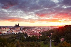 Cityscape of Prague at the sunrise Stock Images