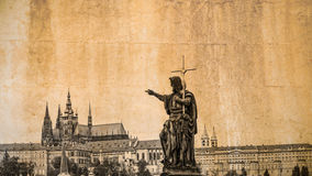 Cityscape of Prague in vintage look with statue of the Charles bridge in the foreground Stock Photography