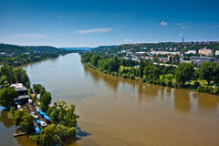 Cityscape of Prague with Vltava river Royalty Free Stock Photo