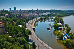 Cityscape of Prague with Vltava river Royalty Free Stock Image