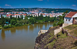 Cityscape of Prague with Vltava river Stock Photography