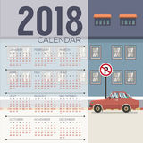2018 Cityscape Printable Calendar Starts Sunday Royalty Free Stock Photography