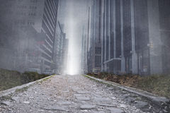Cityscape projection above path Royalty Free Stock Photography