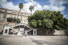 Cityscape, promenade, Paseo Alfonso XII.Cartagena,Spain. Stock Photos