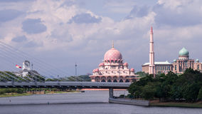 Cityscape of Putrajaya, Malaysia. Cityscape of Putrajaya, the administrative capital of Malaysia. The famous pink mosque and the prime ministers office are Royalty Free Stock Image