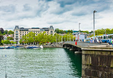 Cityscape with the Quaibrucke bridge. Zurich is the largest city Royalty Free Stock Image