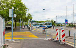 Cityscape with the Quaibrucke bridge. Zurich is the largest city Royalty Free Stock Photography