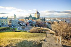 Cityscape of Quebec City with Chateau Frontenac on Spring. Stock Photos