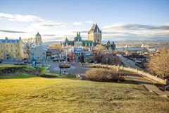 Cityscape of Quebec City with Chateau Frontenac on Spring. A Cityscape of Quebec City with Chateau Frontenac on Spring stock photography