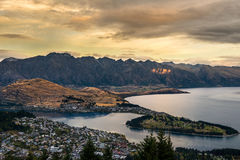 Cityscape of Queenstown and Lake Wakaitipu with The Remarkables in the background, New Zealan Royalty Free Stock Image