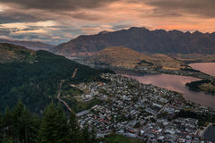 Cityscape of Queenstown and Lake Wakaitipu with The Remarkables in the background, New Zealan Royalty Free Stock Photos