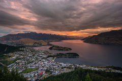 Cityscape of Queenstown and Lake Wakaitipu with The Remarkables in the background, New Zealan Stock Photography