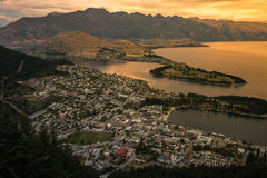 Cityscape of Queenstown and Lake Wakaitipu with The Remarkables in the background, New Zealan Royalty Free Stock Images