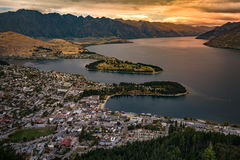 Cityscape of Queenstown and Lake Wakaitipu with The Remarkables in the background, New Zealan Royalty Free Stock Photo