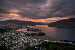 Cityscape of Queenstown and Lake Wakaitipu with The Remarkables in the background, New Zealan Royalty Free Stock Photography