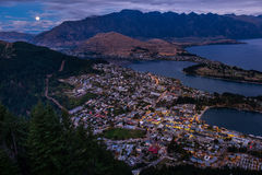 Cityscape of Queenstown and Lake Wakaitipu with The Remarkables in the background, New Zealan Stock Images