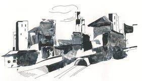 Cityscape rör, höghus som drar med akryl, abstrakt teckning Royaltyfri Foto
