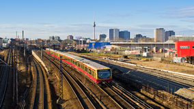 Cityscape with railroads in Berlin, Germany Royalty Free Stock Photo