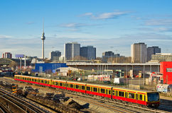Cityscape with railroads in Berlin, Germany Stock Photography
