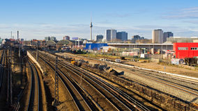 Cityscape with railroads in Berlin, Germany Royalty Free Stock Images