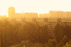 Cityscape and rain in Moscow, Russia Stock Photos