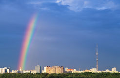 Cityscape with rainbow Royalty Free Stock Photos