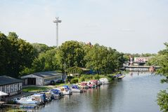 Cityscape of Rathenow with the Havel river and marina for sport Royalty Free Stock Photography