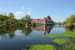 Cityscape of Rathenow with historical mill and havel river. summ Stock Photos
