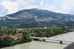 Cityscape of Rattenberg Tirol Austria at Inn river stock image