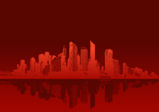 Cityscape on red background. Stock Photography