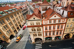 Cityscape with red tiled roofs and Baroque houses of historical town Prague. UNESCO World Heritage Register Stock Images
