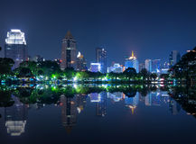 Cityscape reflect with lake view in the park Royalty Free Stock Images