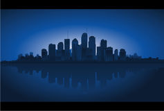 Cityscape reflection on water. Vector illustration. Sunset background Stock Photography