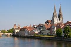 Cityscape Regensburg Arkivfoton