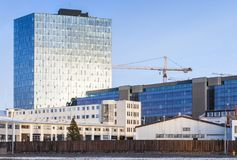 Iceland. Street view with modern buildings. Cityscape of Reykjavik, capital city of Iceland. Street view with modern buildings and crane Royalty Free Stock Photos