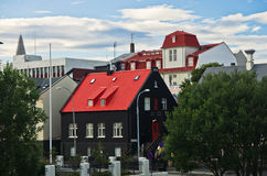 Cityscape of Reykjavik downtown at sunny summer sunrise Royalty Free Stock Image