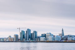 Cityscape of Reykjavik in Iceland from the ocean Stock Photo
