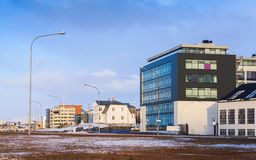 Cityscape of Reykjavik, Street view. Cityscape of Reykjavik, capital city of Iceland. Street view with modern buildings Royalty Free Stock Photos