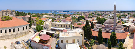 Cityscape of Rhodes town, Greece Royalty Free Stock Photography