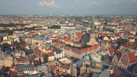 Cityscape of Riga. The capital of Latvia. Aerial view stock footage