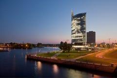 Cityscape of Riga at night Stock Photo