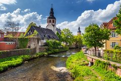Cityscape by the river Alb in Ettlingen, Black Forest, Baden-Wur Stock Photos